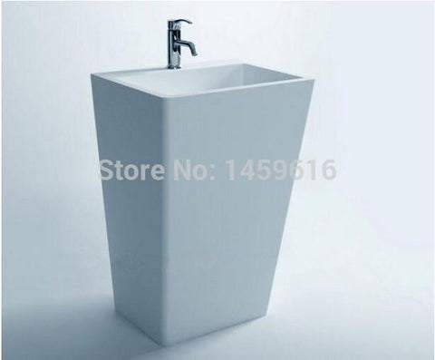 $1564.80- Bathroom Cuboid Pedestal Washbasin Cloakroom Rectangular Solid Surface Stone standing Vanity Sink W9002
