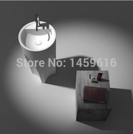 $1535.98- Bathroom Round Pedestal Washbasin Solid Surface Stone Cloakroom standing Vanity Sink W9008