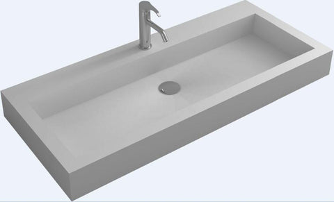 $1502.40- Bathroom Rectangular Wall Hung Vessel Wash Sink Solid Surface Stone Wash Basin Rs38431