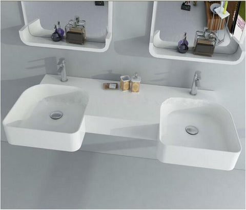 $1767.00- Rectangular Matt Solid Surface Stone Wall Hung Wash Sink Double Wall Mounted Wash Basin Rs381901380
