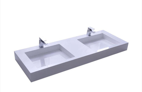 $1825.90- Wall Mounted 1500Mm Vanity Counter Top Basin Stone Solid Surface Matt White Double Sinks 382642309