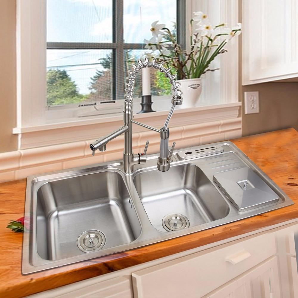 $1116.80- Kitchen Pull Out&Pull Down Faucet W/ Soap Dispenser Trash Can OxidationResisting Steel Basin Sink Set