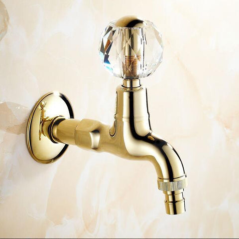 $39.69- Golden Brass Crystal Handle Extended Mop Pool Taps Wall Mount Single Lever Cold Water Sink Faucet