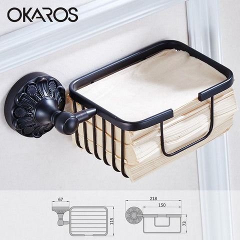 $65.23- Toilet Paper Holder Paper Roll Basket Holder Oil Rubbed Black Brass Toilet Tissue Box Paper Storage Rack Bathroom Accessories