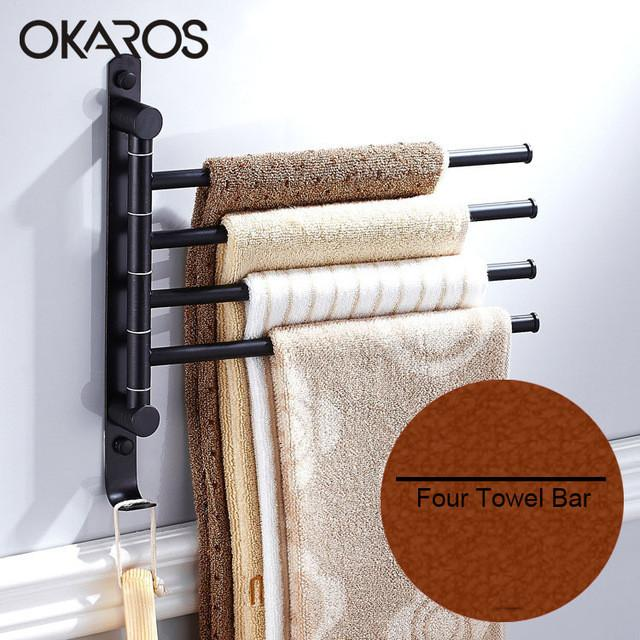 $105.03- Bathroom Towel Bar W/ Hook 180 Degree Rotation2/3/4 Layer Stainless Steel Towel Rack Holder Wall Mounted Bathroom Accessories
