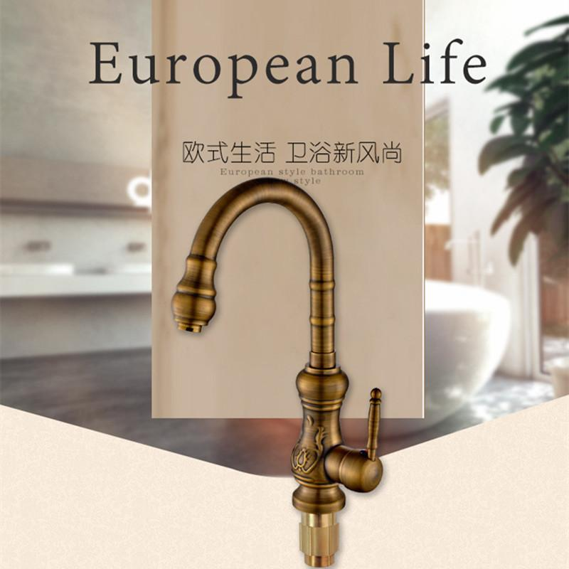 Buy 360 Degree Rotation Antique Kitchen Sink Faucet W/ Top Quality Bronze  Kitchen Faucet Hot Cold Kitchen Tap $147.83- ICON2