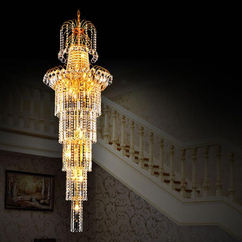 $2787.21- Crystal Light Chandelier Bedroom Large Duplex Living Room Chandelier Modern Crystal Chandelier High Lobby Hanging Light Fixture
