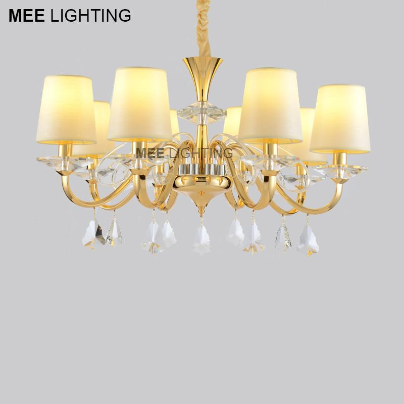 $463.94- New Arrival Pendant Light Fixture Gold Color E14 Or E12 Drop Lamparas Crystal Suspension Lighting For Living Room Bedroom