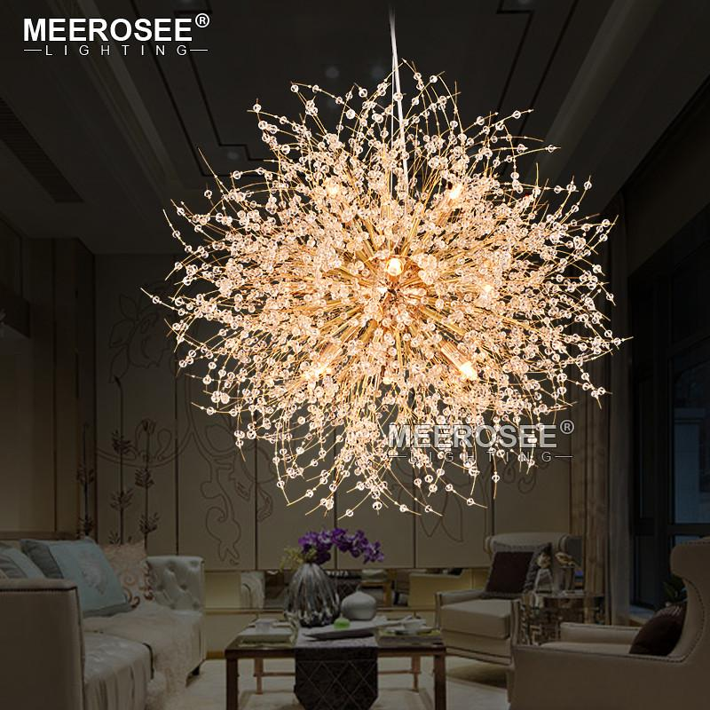 $350.03- New Crystal Suspension Lamp Round Modern Pendant Light Drop Lustre For Home Lighting Suspension Crystal Lamparas Luminaire