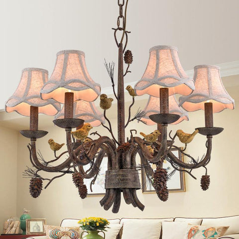 $163.20- Wrought Iron Chandelier Island Country Vintage Style Chandeliers Flush Mount Painting Lighting Fixture Lamp Empress Chandeliers