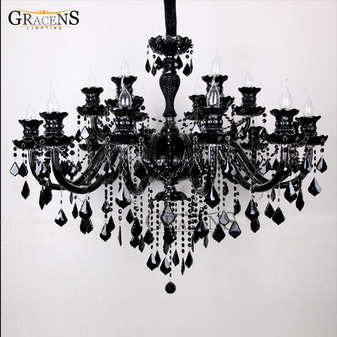 $1274.53- Luxury Large Black Glass Chandelier Lighting Premium Quality Crystal Lustres Lamp Pendant W/ 18 Arms For HighClass Restaurant