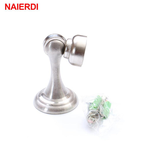 NAIERDI Stainless Steel Magnetic Sliver Door Stop Stopper Holder Catch Floor Fitting W/ Screws For Bedroom Family Home Etc