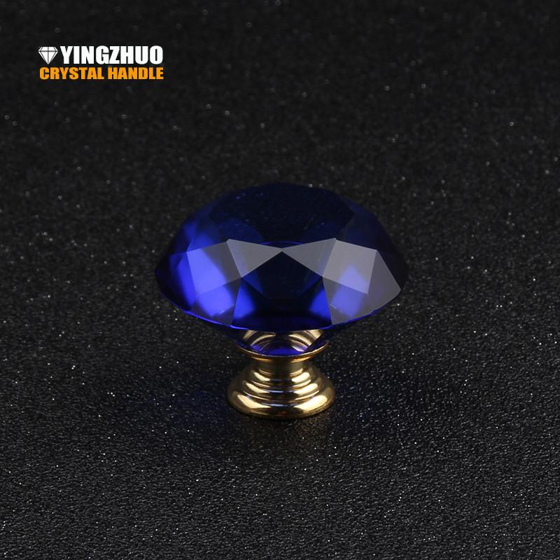 $18.63- 40Mm 1Pcs Blue Gold Metal Base Crystal Diamond Glass Knob Furniture Decoration Design Drawer Cabinet Handle Dresser Accessories