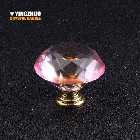 $18.63- Hot 40Mm 1Pcs Pink Crystal Door Handles Knobs Furniture Kitchen Pulls Drawer Glass Handle Wardrobe Cabinet Knob Yz3007