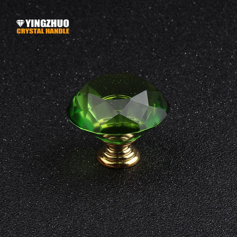 $18.63- 40Mm 1Pcs From The Of Green Diamonds Crystal Glass Knob Drawer Cabinet Cabinet Door Dresser Handle Furniture Accessories