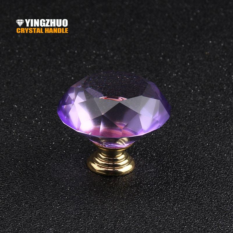 $18.63- 40Mm 1Pcs High Quality Color Purple Crystal Diamond Glass Handle High Grade Furniture Accessories Drawer Cabinet Hardware Knob