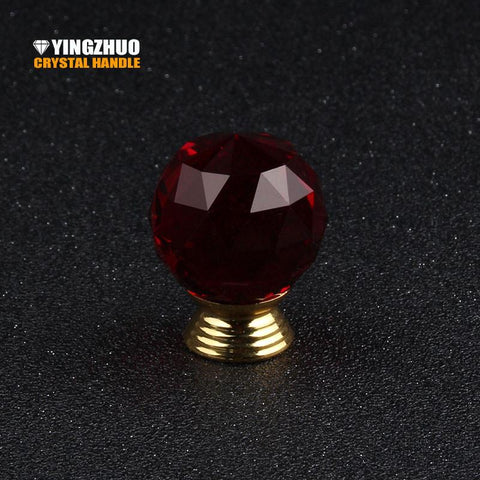 $17.96- Girl Bedroom Decoration Diy Furniture Accessories Hardware Drawer Cupboard Wardrobe Dresser Handle Red Crystal Glass Knob