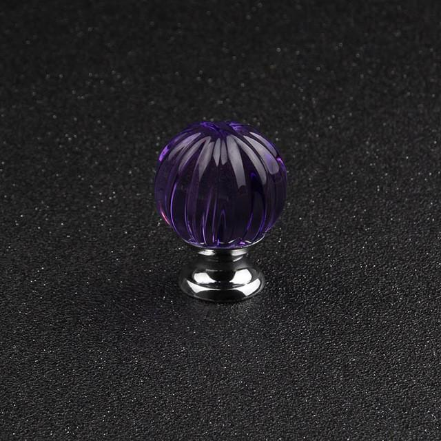 $17.96- Hot 30Mm 1Pcs Furniture Decoration Diy Drawer Cabinet Knob Blue Color Crystal Glass Pumpkin Ball Dresser Handle Yz2012