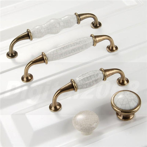 $3.06- Ceramic Kitchen Cabinet Handles Drawer Pull Knobs Antique Brass Door Handle Vintage Furniture Hardware Decorative