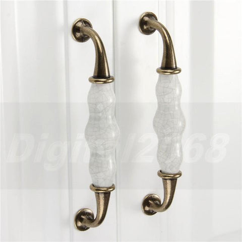 $2.64- Ceramic Kitchen Cabinet Handles Drawer Pull Knobs Antique Brass Door Handle Vintage Furniture Hardware Decorative