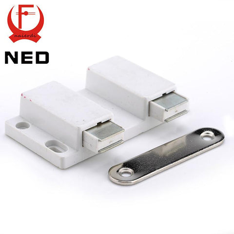 $3.38- Ned Double Cabinet Catch Kitchen Door Stopper Soft Quiet Close Magnetic Push To Open Touch Damper Buffers For Furniture Hardware