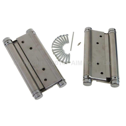 $72.00- 6 1 Pair Stainless Steel Sprung Hinges Double Action Swing Doors 150Mm