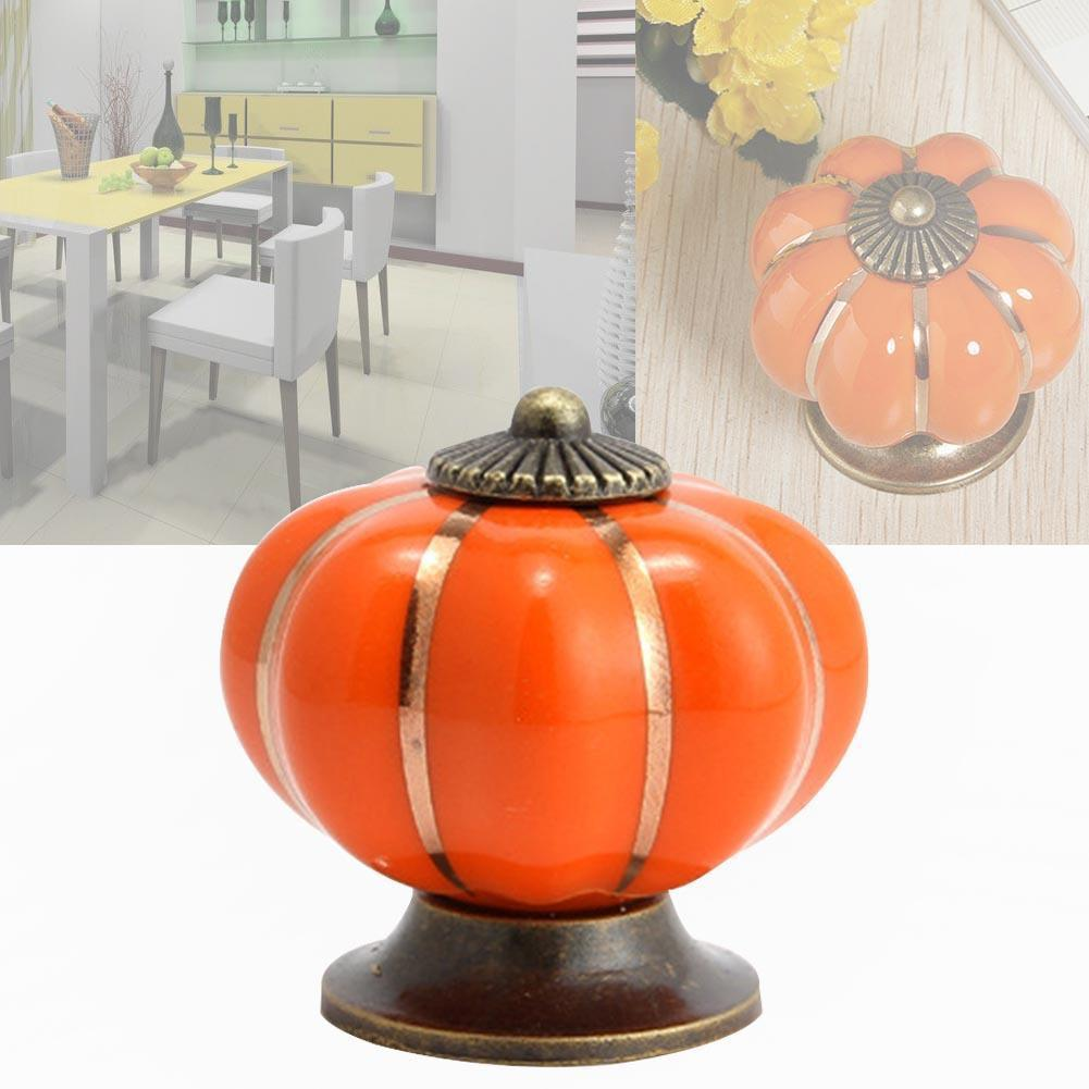 $3.19- Orange Vintage Pumpkin Door Knob Ceramic Door Knobs Cabinet Drawer Cupboard Kitchen Pull Cabinet Knobs Handles Cute Design