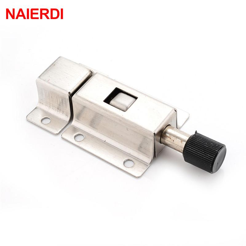 $3.19  Naierdi Stainless Steel Door Bolt Spring Bounce Bolts Lock For  Window Cabinet Toilet Furniture