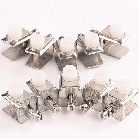 10Pcs Metal Glass Clamps Shelf Plate Bracket Support Clip Holder Furniture Hardware Bathroom Accessories 15Mm*13Mm