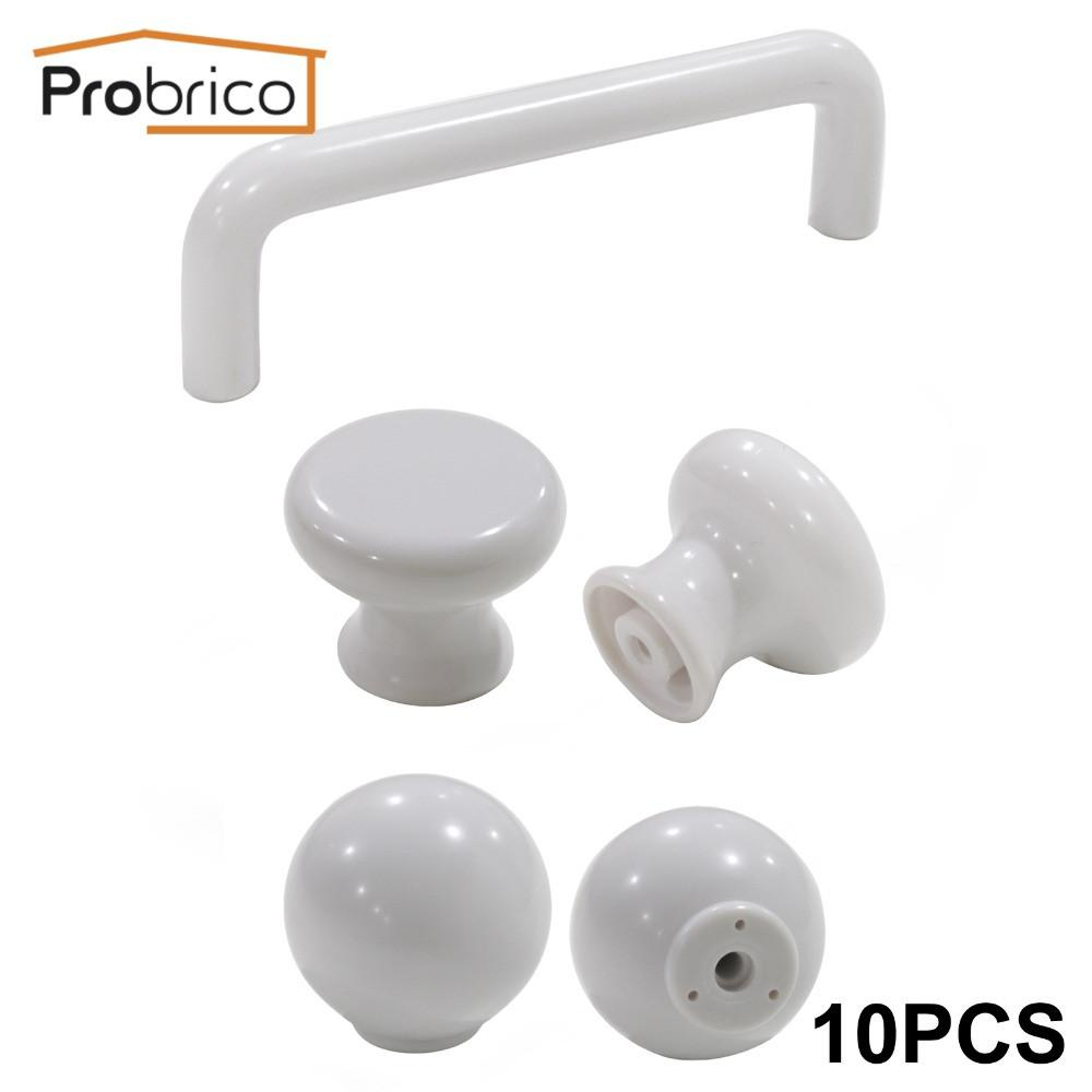 $16.89- Probrico 10 Pcs Plastic Kitchen Cabinet Knob White Furniture Drawer Handle Cupboard Pull