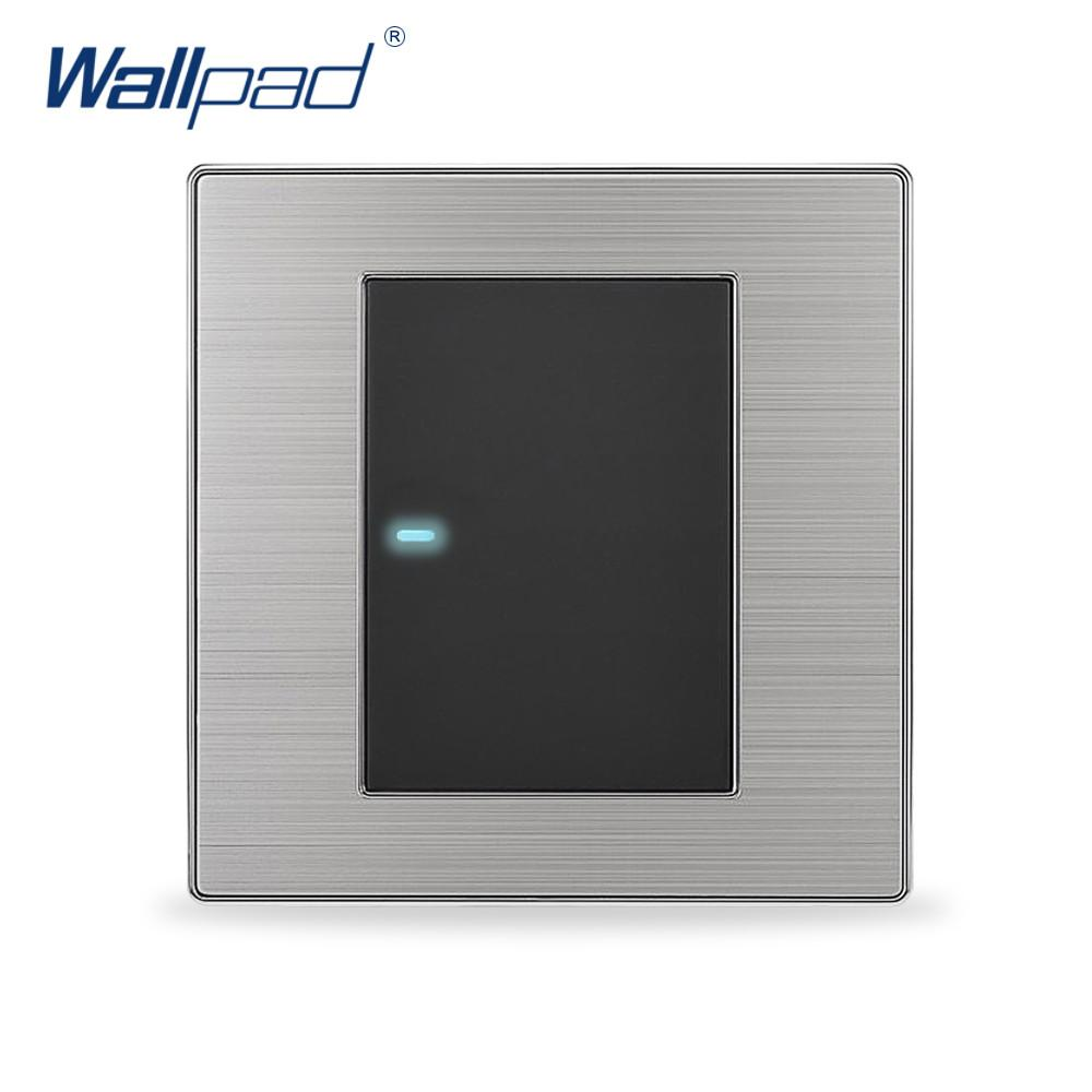 $7.49- Hot 1 Gang 1 Way Wallpad Luxury Led Light Switch Push Button Wall Switches Interrupteur 10A Ac 110~250V