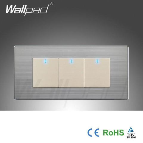 $16.85- Hot Wallpad Push Button OneSide Click Led Indicator Luxury Wall Light 3 Gang 2 Way Switch