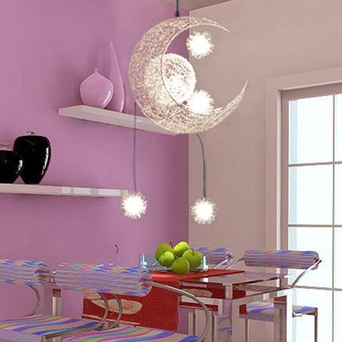 $89.06- Modern Personalized Moon Star Chandelier Children Bedroom Lustres Hanging Ceiling Lamp Home Decorative Fixture Lighting