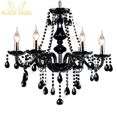 $161.14- Luxury Black Crystal Chandelier Living Room Lamp Lustres De Cristal Indoor Lights Crystal Pendants For Chandeliers