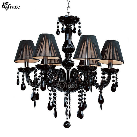 $139.40- Modern Black Crystal Lights Crystal Chandeliers Pendant Lamp Dining Room Living Lobby Lamp Lighting Usex6Pcs E14 Led Candle Bulb
