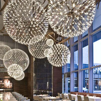 $127.40- Stainless Steel Firework Pendant Light Ball Firework Lights Modern Creative Living Room Lighting Villa Lamps