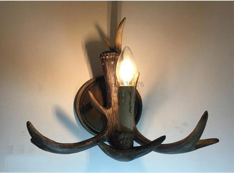 $112.71- Rustic Retro Resin Antler Wall Sconce 2 Light Fixtures Lamp American Country Wall Light Deer Horn Candle Lampshade 110240V