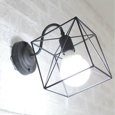 $54.32- Retro Vintage Industrial Wire Cage Wall Sconce Iron Black White Wall Lamps Luminaire Wall Lights Fixtures Home Lighting