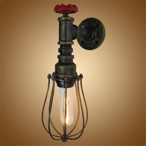 Vintage Industrial Edison Wall Lamps Metal Water Pipe Wall Sconce Warehouse Wall Light Fixtures E27 110V/220V Bedside Lighting