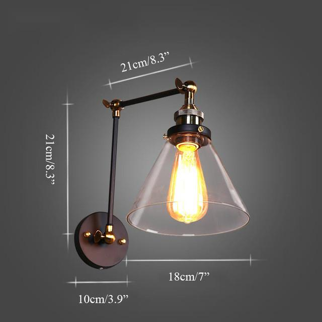 $87.48- Loft Vintage Industrial Edison Wall Lamps Clear Glass Wall Sconce Warehouse Wall Light Fixtures E27 110V/220V Bedside Lighting