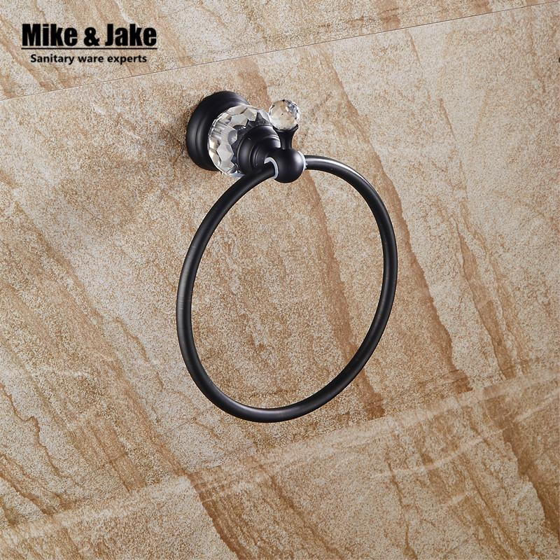 $42.80- Crystal Bathroom Towel Ring Black Bathroom Towel Rack Holder Crystal Black Towel RingTowel Bar Bathroom Accessories Sy8803