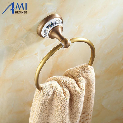 $47.52- Ap1 Series Antique Brass Towel Ring Porcelain Base Wall Mounted Bathroom Accessories Towel Shelf Towel Holder