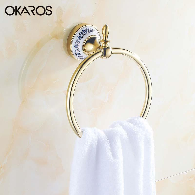 $34.00- Bathroom Towel Ring Holder W/ Ceramic Decoration Towel Rack Towel Bar Stainless Steel Chrome/Golden Bathroom Accessories