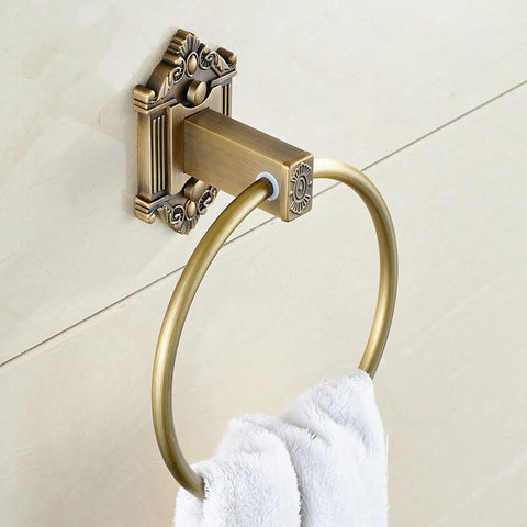 $30.58- European Style Antique Carved Towel Ring Wall Mount Towel Bar Rack Brass Finish Square Bathroom Accessories Set