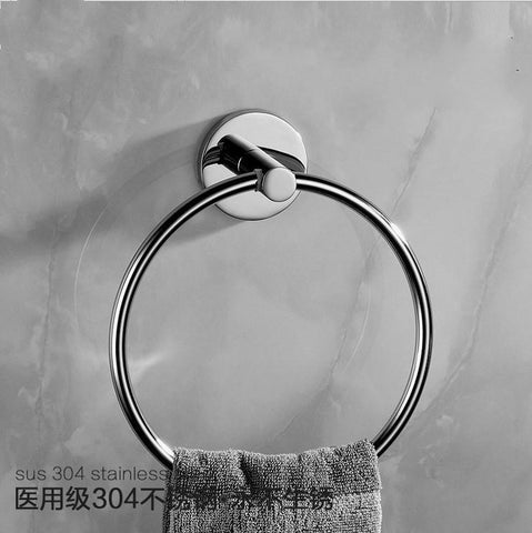 $38.11- Modern Chrome Polished Towel Holder Towel Ring Round Base 304 Stainless Steel Towel Rack Mounting Bathroom Hardware Set Tm2
