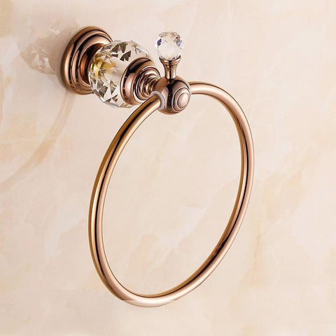 $38.00- Luxury Crystal&Diamond Solid Brass Towel Ring Antique Gold Towel Holder/Towel Rack Bathroom Accessories Products Hj20