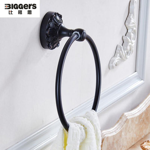 $35.98- America Retro Style Black Bronze Wall Mounted Towel Rings Brass Towel Holder 6204