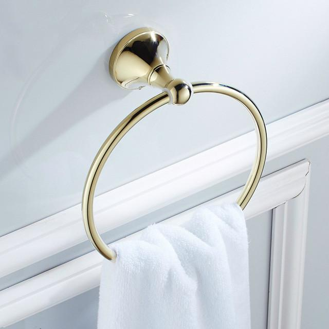 $37.49  Antique Gold Plated Towel Rings Polished Towel Rack Brass Towel  Holder Wall Mounted Bathroom