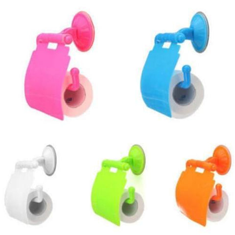 $4.20- Random Color Wall Mounted Plastic Bathroom Toilet Paper Holder W/ Cover Porta Papel Higienico Bathroom Accessories