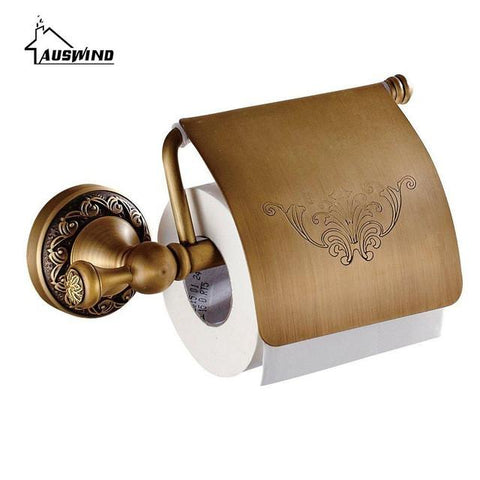 $36.07- Antique Carved Toilet Paper Holder Brushed Tissue Holder Carton Solid Brass Bathroom Accessories Wall Mounted Bathroom Products